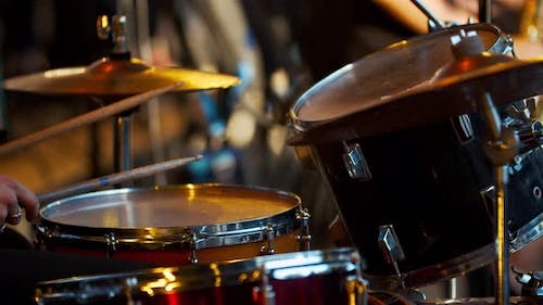 Rock Concert, Close Up of a Drummer Performing on Stage, Music,