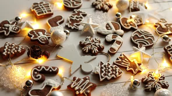 Thumbnail for Christmas Sweets Composition. Gingerbread Cookies with Xmas Decorations