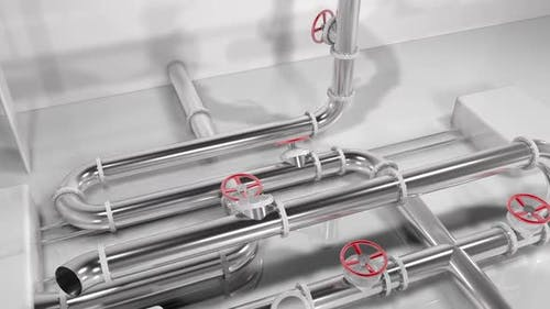 Animated 3D shiny metallic pipes forming a growing pipes structure