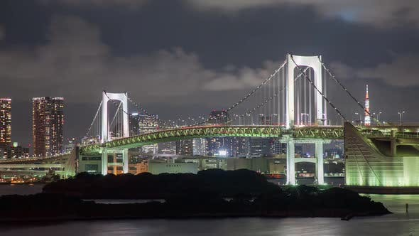 Cover Image for Night Time Lapse Tokyo Rainbow Bridge