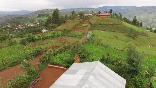 Aerial view of a village and fields, Uganda
