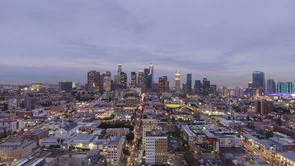 Los Angeles Downtown at Twilight. California, USA. Aerial View
