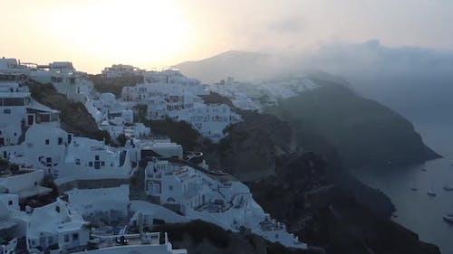 View of Oia village on Santorini Island, Greece