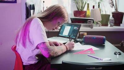 Young Woman Tattoo Artist Draws Sketch Tattoo Studio