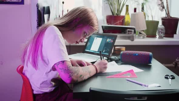 Young Woman Tattoo Artist Draws Sketch Tattoo Studio