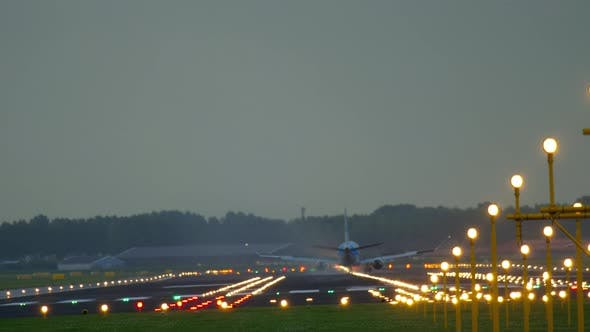 Cover Image for Airplane Landing at Early Morning