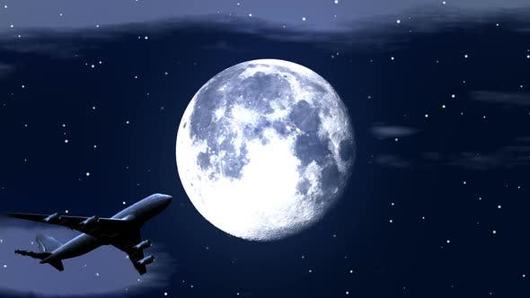 Thumbnail for Airplane Flying Over Moon in Starry Night