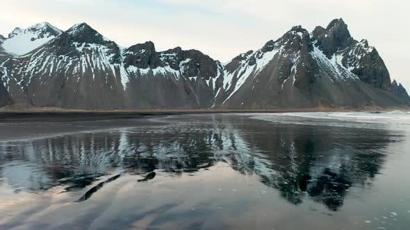 Thumbnail for Aerial View of Vestrahorn at Stokksnes Beach Before Sunset. Iceland. Winter 2019