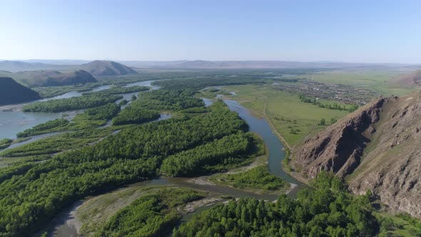 Thumbnail for Panoramic Aerial View over River