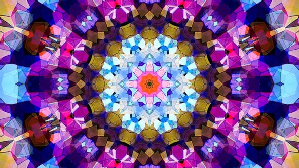 Colorful Stained Glass Kaleidoscope Loop 4K 03