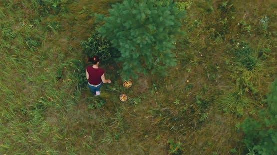 Woman Picks Mushrooms Baskets Prlichny Harvest