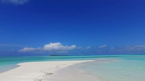 Wide overhead abstract view of a summer white paradise sand beach and blue water background in high