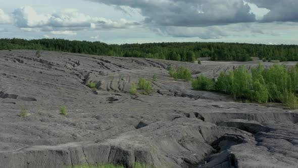 Flying above the abandoned clay quarry