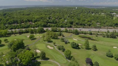 Flying Over a Golf Course and Towards Freeway in Long Island