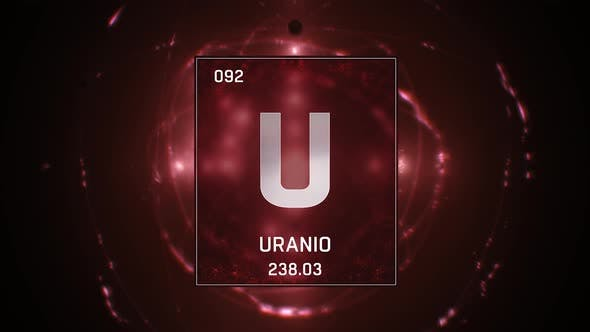 Thumbnail for Uranium as Element 92 of the Periodic Table on Red Background in Spanish Language