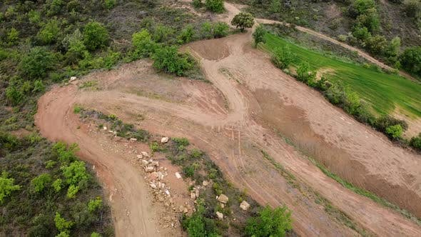 Aerial View Of Terrain With Trails In Spain