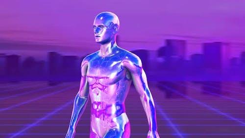 Retrofuturistische Metall-menschliche Figur mit einer Rasterlaserlandschaft — Synthwave background