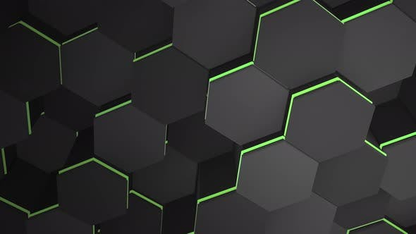 Thumbnail for Motion dark black hex grid background, abstract background