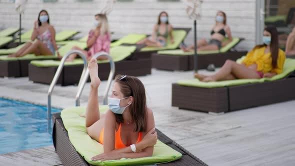 Thumbnail for Coronavirus Lifestyle, Adorable Young Girls Enjoying Summer Vacations and Adhering To Modern