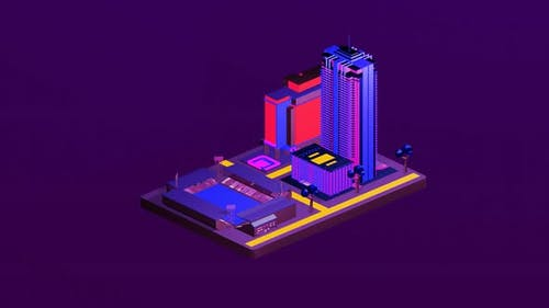Isometric stadium in the middle of the city