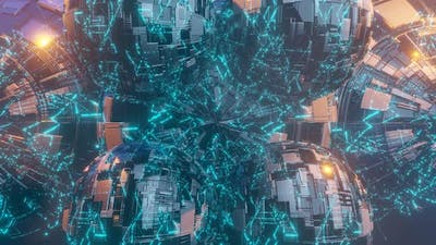 Illuminated Cyber Balls Rotates in Open Space Surrounded By Nebula