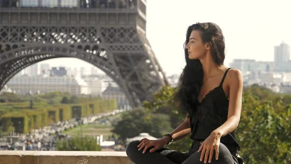 Thumbnail for Beautiful Young Tourist Girl Near the Eiffel Tower, Paris France.