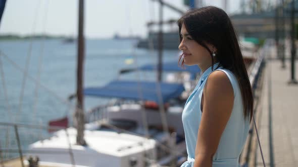 Thumbnail for Beautiful Girl Standing and Waiting for Her Boyfriend on Dnipro Quay in Slo-mo