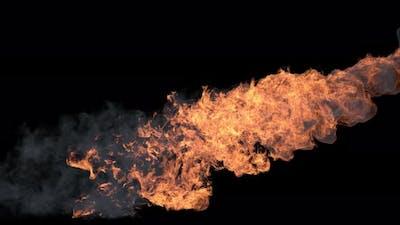 Fire Stream With Smoke
