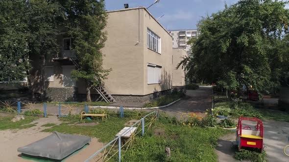 Aerial view of empty preschool building in city 15
