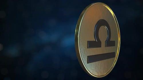 Gold Token with Libra Zodiac Sign