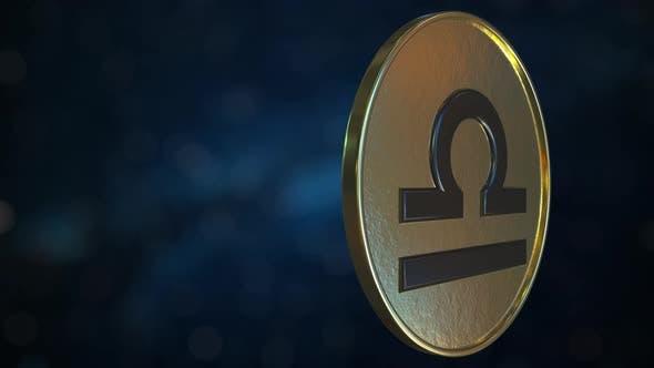 Thumbnail for Gold Token with Libra Zodiac Sign