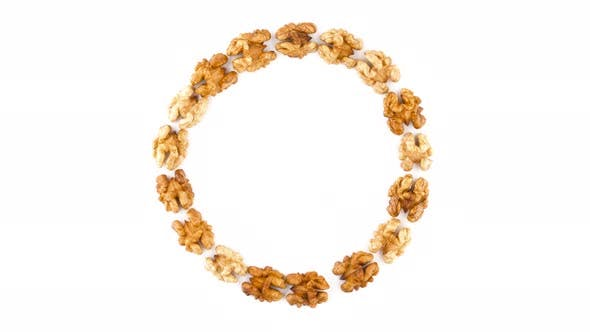 Thumbnail for Top View From Above of a Large Circle Shaped Walnuts Without the Shell