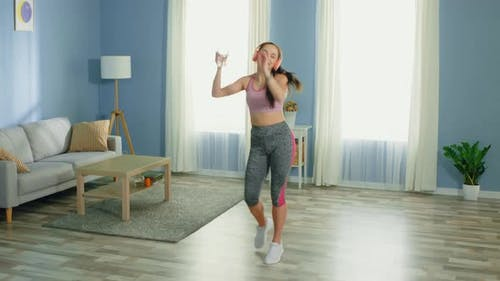 Young Cheerful Woman Dancing Morning Routine