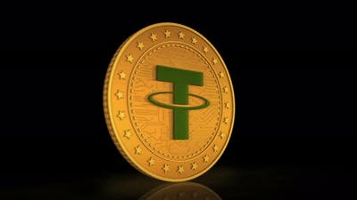 Tether cryptocurrency golden coin 3d