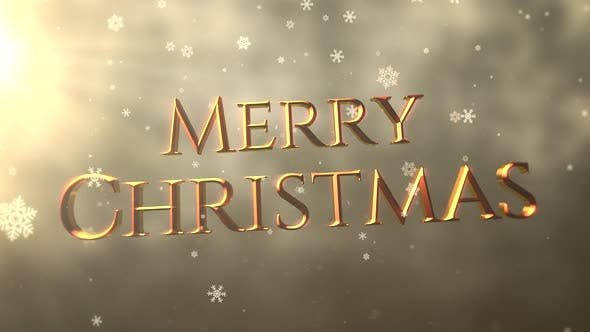 Thumbnail for Gold abstract bokeh particles falling and animated closeup Merry Christmas text on shiny background