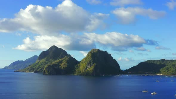 Cover Image for Scenic View of Sea Bay and Mountain Islands in Philippines