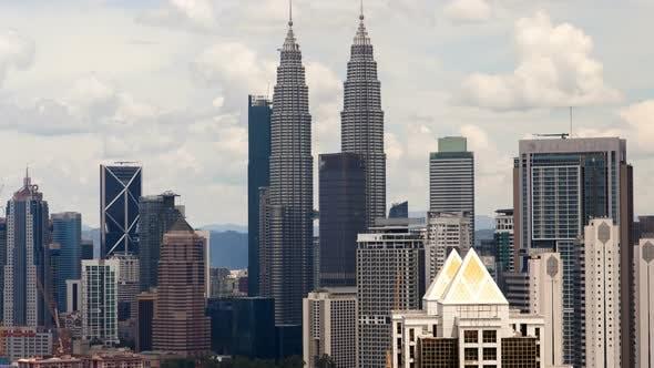 Thumbnail for Kuala Lumpur Noon Timelapse Skyscrapers Panorama