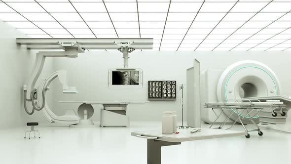 Thumbnail for Medical gear in a generic white hospital room