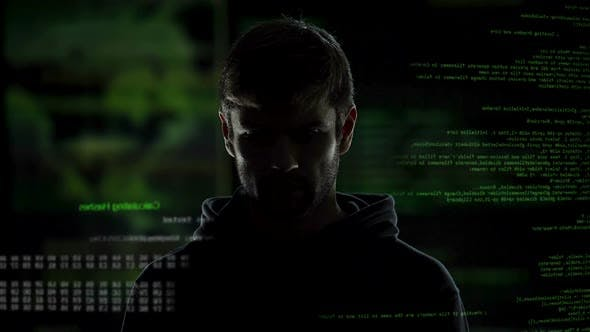 Thumbnail for Anonymous internet male hacker with numbers and codes illustration background