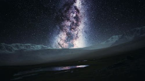 Camera Follow the Milky Way Rotate in Mountains