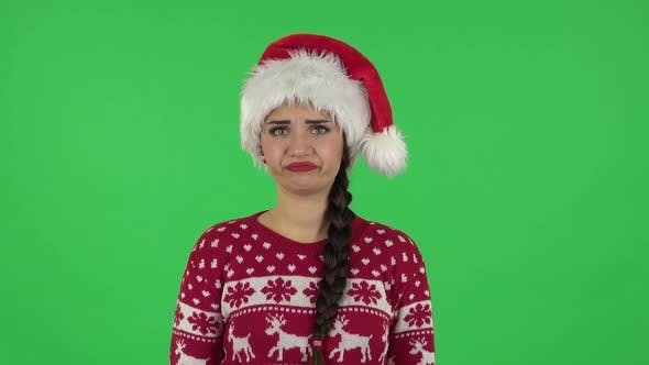 Thumbnail for Portrait of Sweety Girl in Santa Claus Hat Is Frustrated Saying Wow. Green Screen