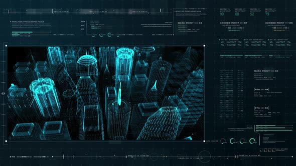 Thumbnail for Futuristic Holographic Digital City HUD
