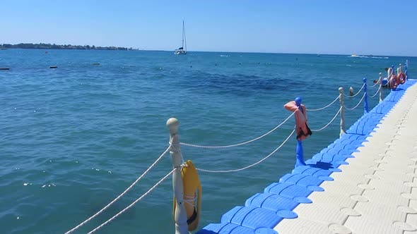 Thumbnail for Floating Pier Near the Sea, Yachting, Sailing, Summer Outdoor Activities