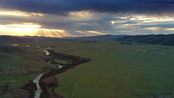 Thumbnail for Aerial of Mountains Landscape in Orkhon Valley