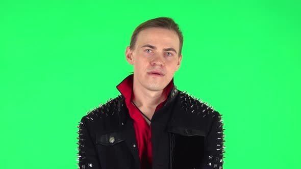 Thumbnail for Guy Stands Waiting with Boredom. Green Screen