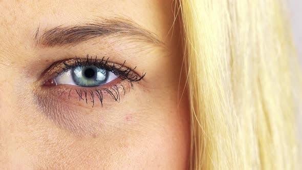 Thumbnail for Closeup on a Blonde Woman's Blue Eye