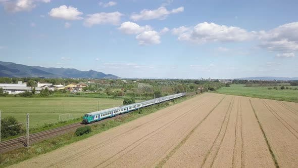 Passenger Train in the Countryside.