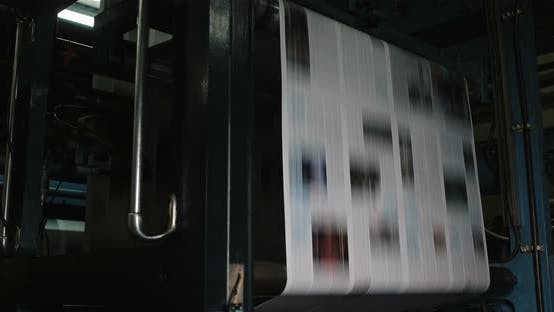 Thumbnail for Print Plant Factory. Newspaper Printing at a Plant. Newspaper Printed on a Printing House Machine