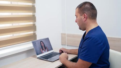 Doctor consulting client online