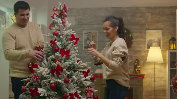 Thumbnail for Zoom in Shot of Young Couple Assembled Christmas Tree
